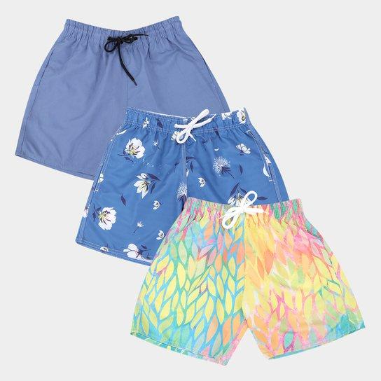 Kit Shorts Wall Estampados Com 3 Peças Masculino - Colorido