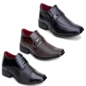 Kit Stefanini Calçados 3 Pares de Sapato Social Masculino