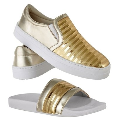 Kit Tênis Emanuelly Shoes Slip On + Chinelo Feminino-Feminino