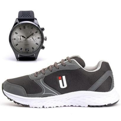 Kit Tênis Fitness Masculino Conforto + Relógio Analógico