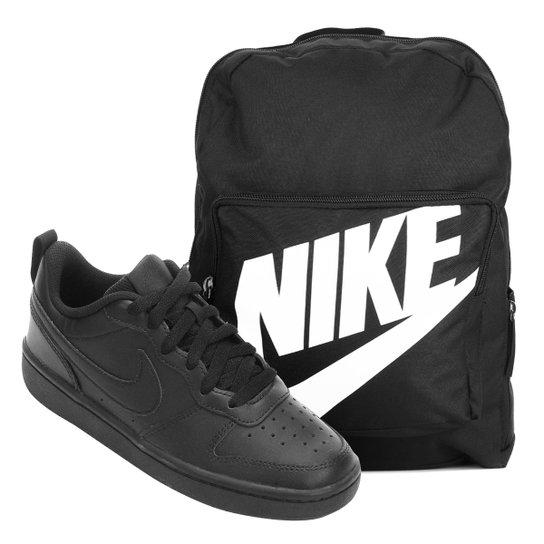 Kit Tênis Infantil Nike Court Borough Masculino + Mochila Nike Classic 16 L - Preto