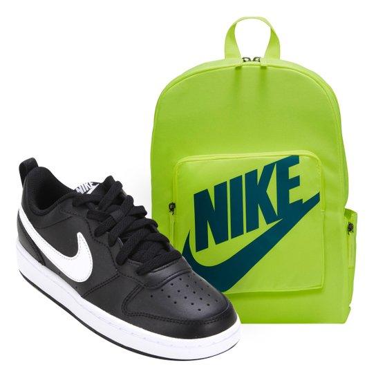 Kit Tênis Infantil Nike Court Borough Masculino + Mochila Nike Classic 16 L - Branco+Verde