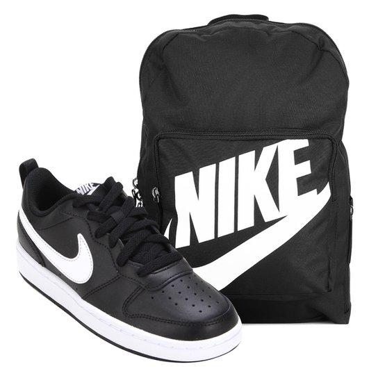 Kit Tênis Infantil Nike Court Borough Masculino + Mochila Nike Classic 16 L - Preto+Branco