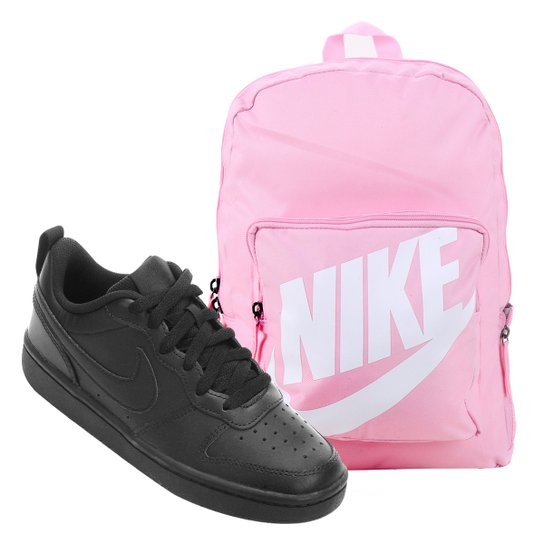 Kit Tênis Infantil Nike Court Borough Masculino + Mochila Nike Classic 16 L - Preto+Rosa