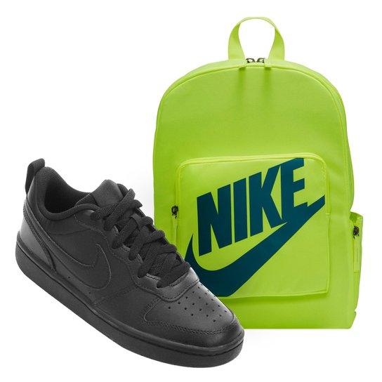 Kit Tênis Infantil Nike Court Borough Masculino + Mochila Nike Classic 16 L - Preto+verde