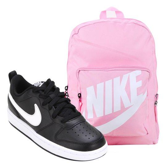 Kit Tênis Infantil Nike Court Borough Masculino + Mochila Nike Classic 16 L - Rosa Claro