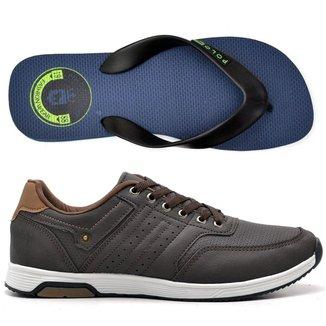Kit Tenis Jogging + Chinelo Top Franca Shoes Masculino