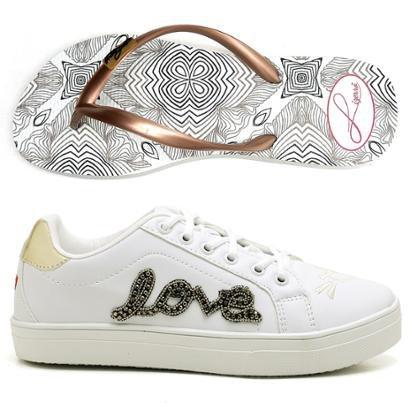 Kit Tênis Love Top Franca Shoes + Chinelo Top Franca Shoes Feminino