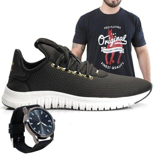 Kit Tênis Polo Joy Masculino com Camiseta e Relógio - Preto