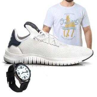 Kit Tênis Polo Joy Masculino com Camiseta e Relógio