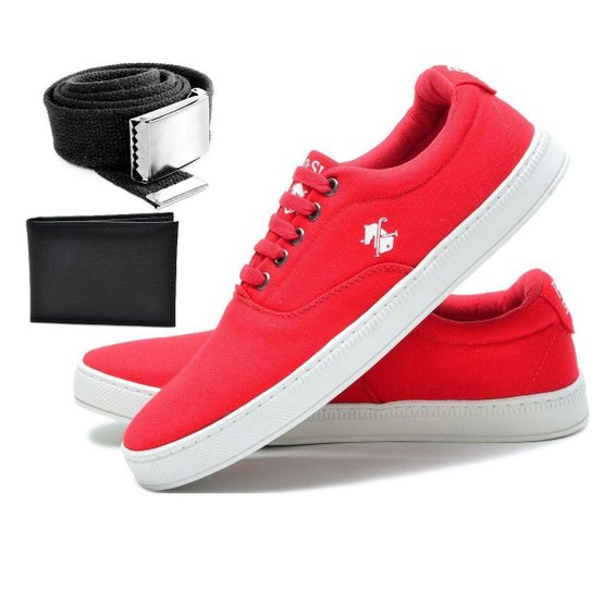Kit Tenis Sapatenis Polo Slim + Cinto + Carteira Masculino - Vermelho