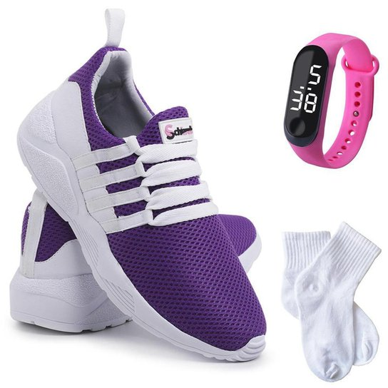 Kit Tênis Sneaker Feminino + Relógio Digital + Meia Conforto - Roxo+Branco