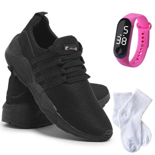 Kit Tênis Sneaker Feminino + Relógio Digital + Meia Conforto - Preto