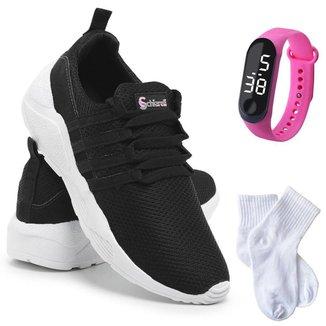 Kit Tênis Sneaker Feminino + Relógio Digital + Meia Conforto