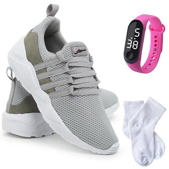 Kit Tênis Sneaker Feminino + Relógio Digital + Meia Conforto - Cinza+Branco