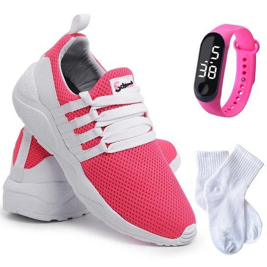 Kit Tênis Sneaker Feminino + Relógio Digital + Meia Conforto - Pink+Branco