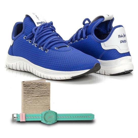 Kit Tênis Têxtil + Carteira e Relógio Feminino Caminhada - Azul