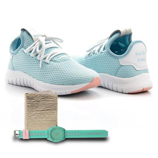 Kit Tênis Têxtil + Carteira e Relógio Feminino Caminhada - Azul Claro
