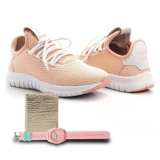 Kit Tênis Têxtil + Carteira e Relógio Feminino Caminhada - Rosa Claro