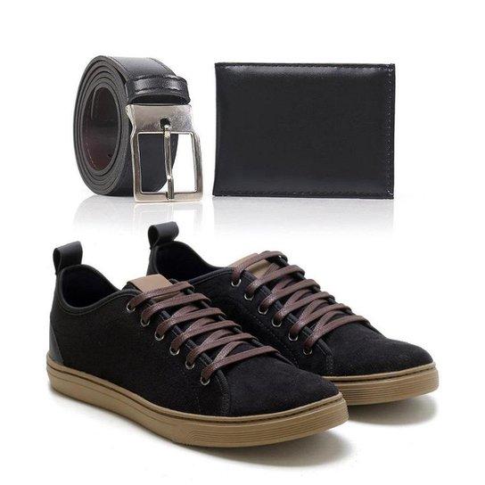 Kit Tênis Top Shoes Cadarço Leve Masculino + Cinto + Carteira - Preto