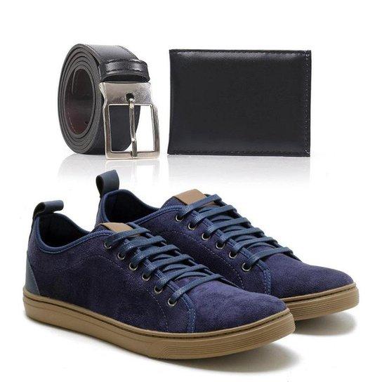 Kit Tênis Top Shoes Cadarço Leve Masculino + Cinto + Carteira - Marinho