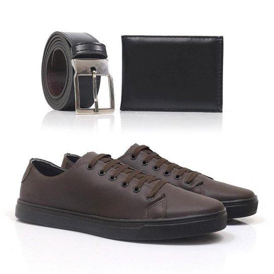 Kit Tênis Top Shoes Confortável Masculino + Cinto + Carteira - Café