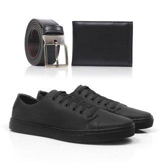 Kit Tênis Top Shoes Confortável Masculino + Cinto + Carteira