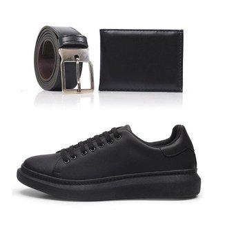 Kit Tênis Top Shoes Macio Masculino + Cinto + Carteira