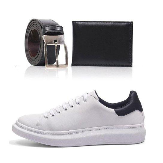 Kit Tênis Top Shoes Macio Masculino + Cinto + Carteira - Branco