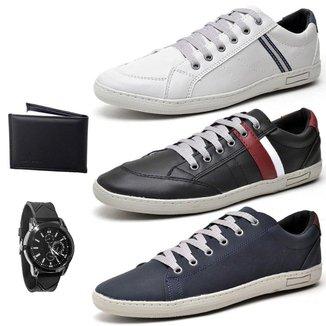 Kit Top Franca Shoes 3 Pares de Sapatênis + Relogio + Carteira Masculino