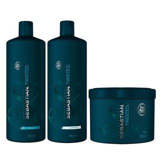 Kit Twisted Elastic Detangler Sebastian Shampoo + Condicionador + Máscara Tamanho Profissional