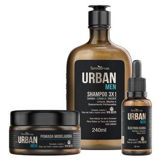 Kit Urban Men IPA Shampoo + Óleo + Pomada + Nécessaire