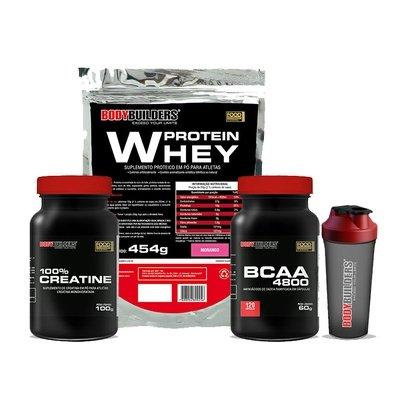 Kit Whey Protein 454 G + BCAA 4800 120 Cáps + 100% Creatine 100 G + Coqueteleira - Bodybuilders