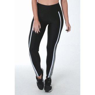 Legging Fitness Faixa Lateral Pontilhado Feminina