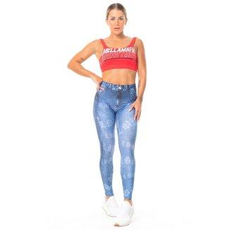 Legging Full Print Fake Jeans Labellamafia - M