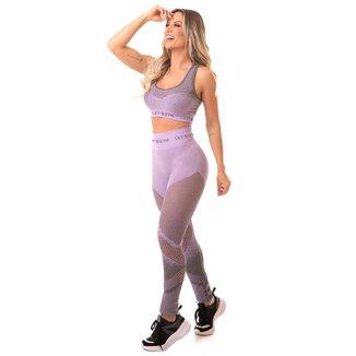 Legging Melange Lilás Lets Gym - M