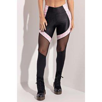 Legging Old School Fitness Preta com Tule Hipkini - M