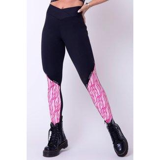 Legging Show Fitness Preta com Detalhe Estampa Zebra Rosa Hipkini - M