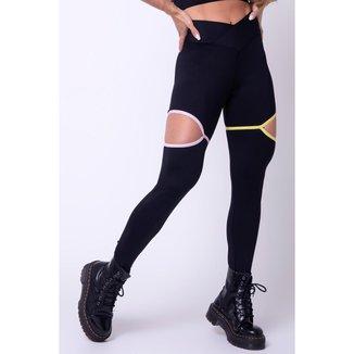 Legging Show Fitness Preta com Elásticos Rosa e Amarelo Hipkini - M