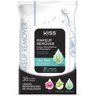 Lenço Demaquilante Kiss New York Makeup Remover Tissue Aloe 36 Unidades