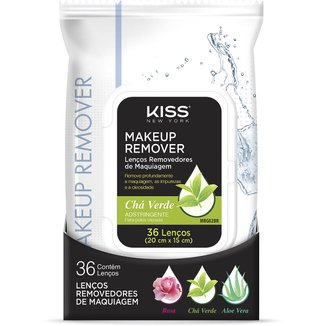 Lenço Demaquilante Kiss New York Makeup Remover Tissue Green Tea 36 Unidades