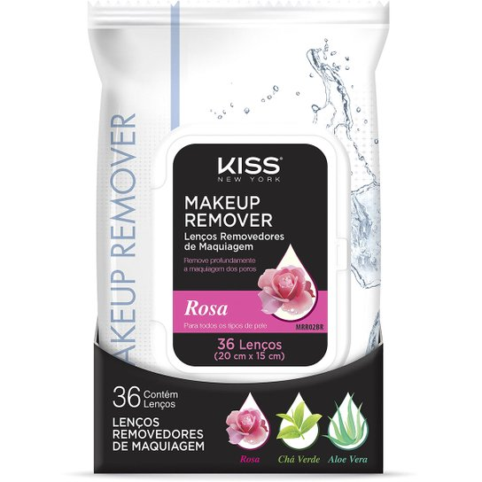 Lenço Demaquilante Kiss New York Makeup Remover Tissue Rose 36 Unidades - Incolor
