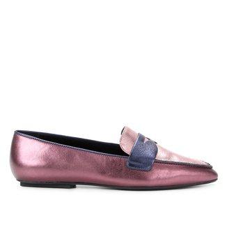 Loafer Couro Carrano Metalizado Feminino