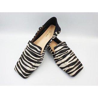 Loafer Versátil em Couro Animal Print Le scarpe di Bruna - Zebra