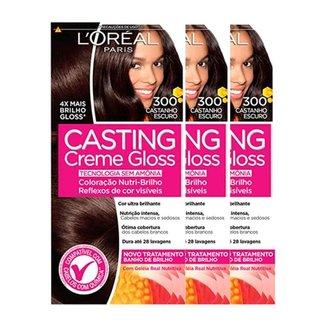 L'Oréal Paris Coloração Casting Creme Gloss Kit - 300 Castanho Escuro Kit