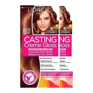 L'Oréal Paris Coloração Casting Creme Gloss Kit - 670 Chocolate com Pimenta Kit