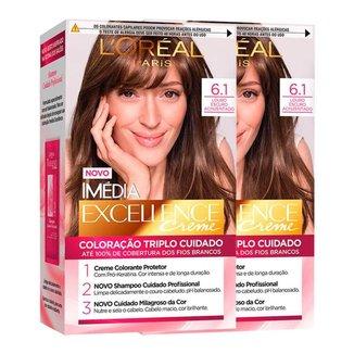 L'Oréal Paris Coloração Imédia Excellence Kit - 6.1 Louro Escuro Acinzentado Kit