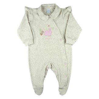Macacão Bebê Ano Zero Longo Malha Elegance Viscolinho Coelhinho Feminino