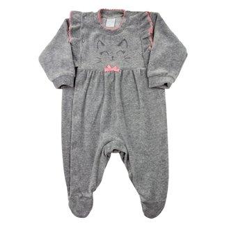 Macacão Bebê Ano Zero Plush Bordado Gatinha com Lacinho Feminino