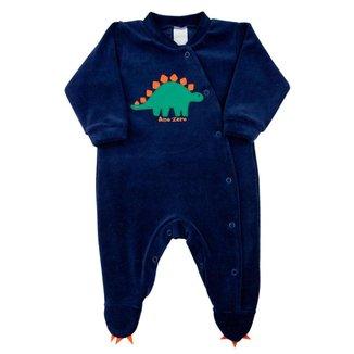 Macacão Bebê Ano Zero Plush  Dinossauro Masculino